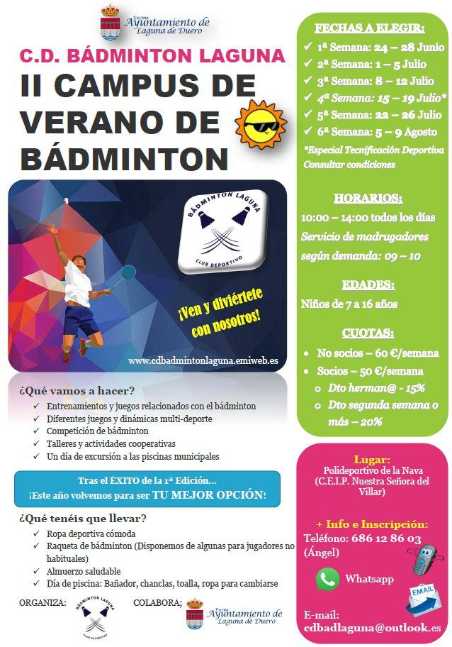 Cartel ii campus de verano de badminton 1