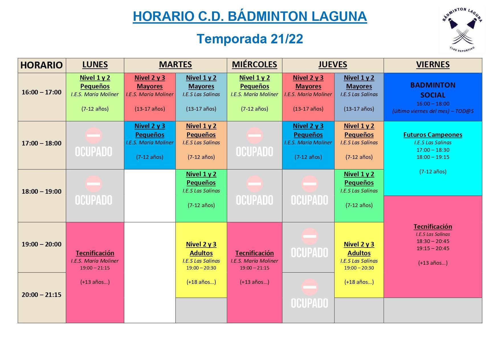 Horario c d badminton laguna 21 22 final